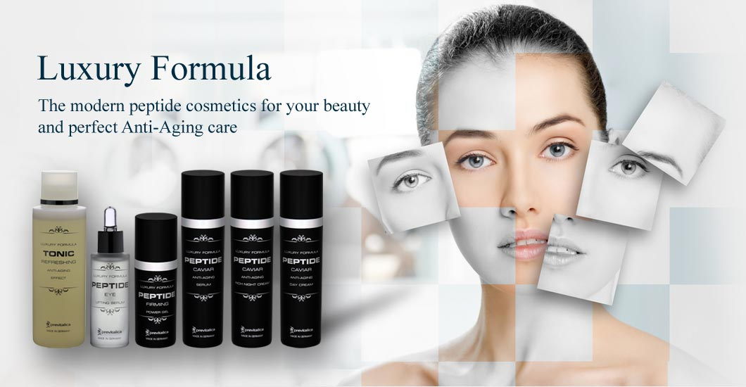 Peptide cosmetics Luxury Formula against the backdrop of a beautiful woman